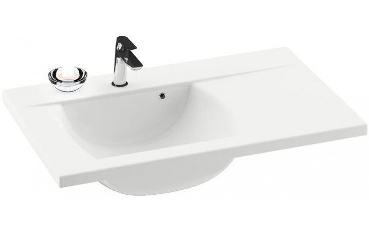 RAVAK CLASSIC 800 umyvadlo 800x490x207mm levé, s otvorem a přepadem, bílá/litý mramor