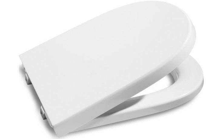 ROCA MERIDIAN klozetové sedátko s poklopem, s nerezovými úchyty, odnímatelné, s antibakteriální úpravou, bílá