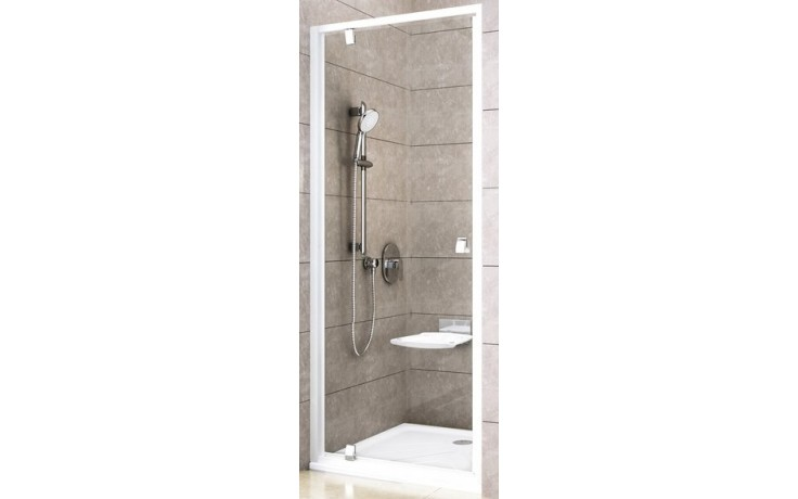 RAVAK PIVOT PDOP1 90 sprchové dveře 861-911x1900mm jednodílné, otočné, bílá/bílá/transparent 03G70101Z1
