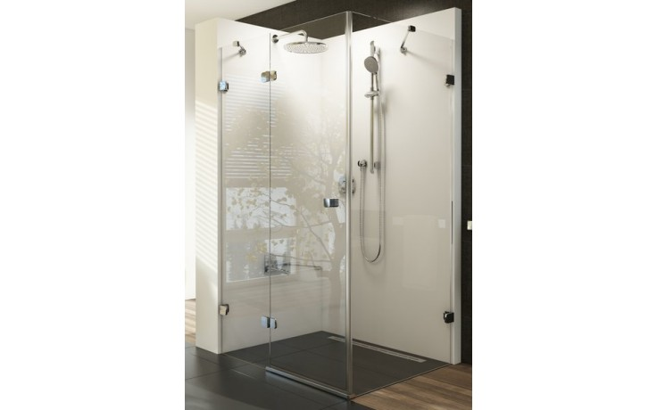 RAVAK BRILLIANT BSDPS-90L sprchové dveře 900x900x1950mm s pevnou stěnou, levé, chrom/transparent