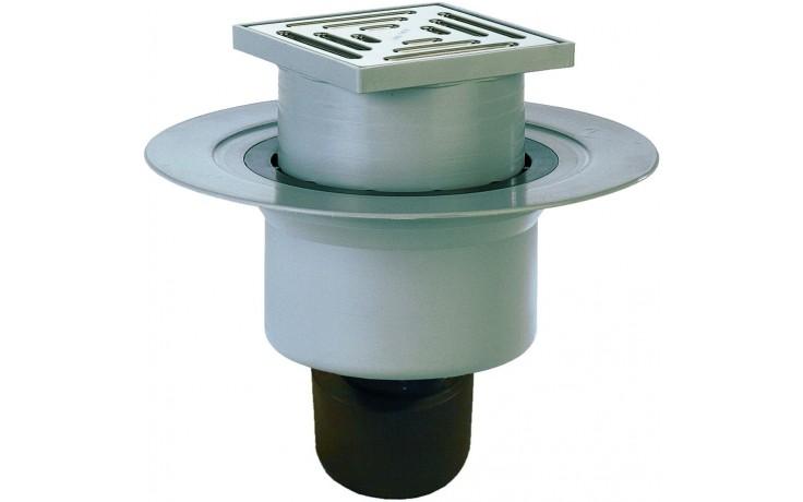HL vpust  DN50/75/110 podlahová, se svislým odtokem, pevnou izolační přírubou, polypropylen/nerez