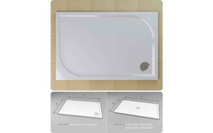 Vanička litý mramor Ronal obdélník Marblemate 800x1400 mm bílá