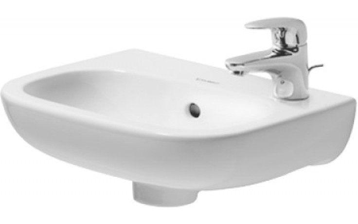 Umývátko klasické Duravit s otvorem D-Code s přepadem, otvor vlevo, plocha pro armaturu 36x27 cm bílá