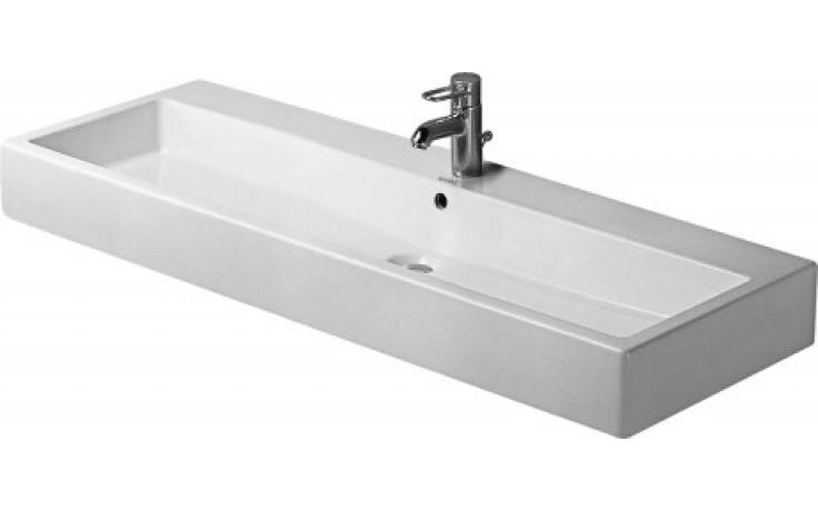 Umyvadlo klasické Duravit s otvorem Vero s přetokem s plochou pro armaturu 120x47 cm bílá + wondergliss