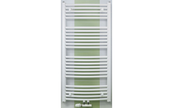 CONCEPT 100 KTOM radiátor koupelnový 691W prohnutý se středovým připojením, bílá