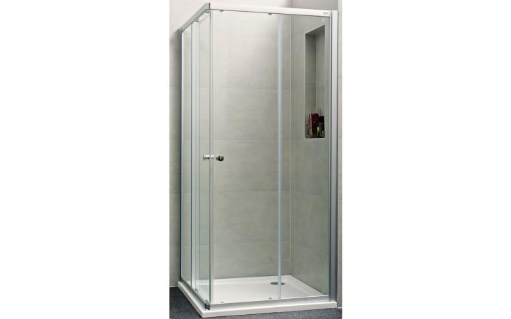 Zástěna sprchová čtverec - sklo Concept 100 NEW, posuvné dveře 2-dílné 1000x1000x1900 mm stříbrná matná/čiré AP