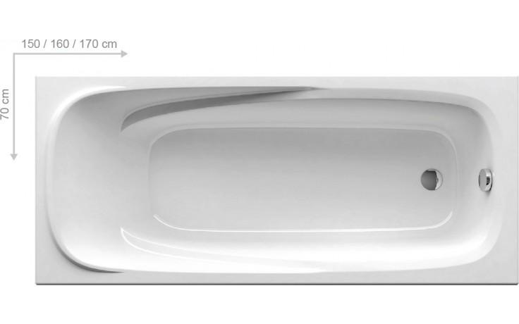 RAVAK VANDA II 170 klasická vana 1700x700x430mm akrylátová, obdélníková bílá CP21000000