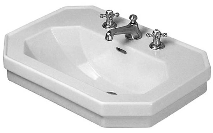 DURAVIT 1930 klasické umyvadlo 800x550mm s přetokem, 3 otvory, bílá/wonder gliss 04388000301