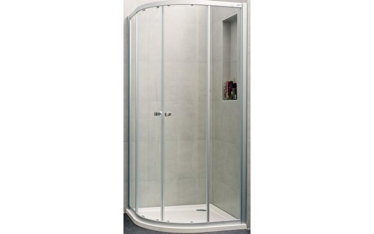 CONCEPT 100 NEW sprchové dveře 900x900x1900mm posuvné, 1/4 kruh, stříbrná matná/čiré sklo s AP, PTA21602.087.322