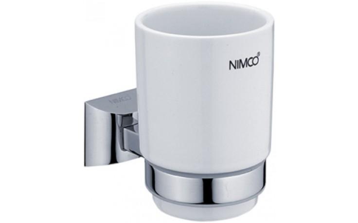 Doplněk držák se skleničkou Nimco Pallas Athéna 10,4x12,8x8,4 cm chrom/bílá keramika