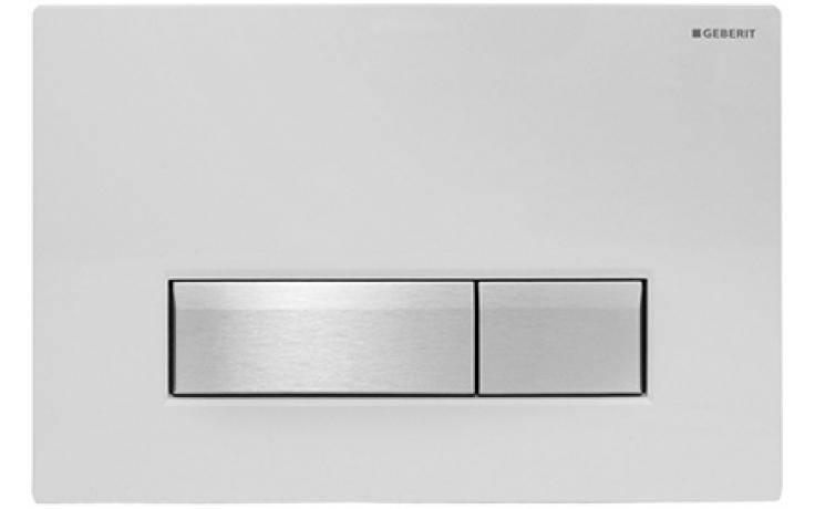 GEBERIT SIGMA 40 ovládací tlačítko s integrovaným odsáváním zápachu 26,6x18,2cm, sklo bílé/kartáčovaný hliník 115.600.SI.1