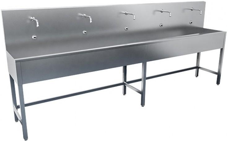 SANELA SLUN52E žlab 2500mm, na nohou, čtyři elektroniky, nerez mat