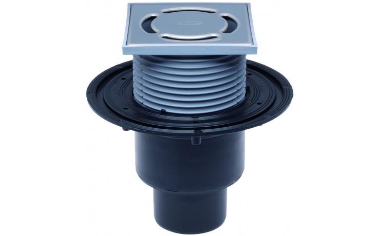 HL vpust DN50/75/110 podlahová, se svislým odtokem, s pevnou izolační přírubou, polyetylen
