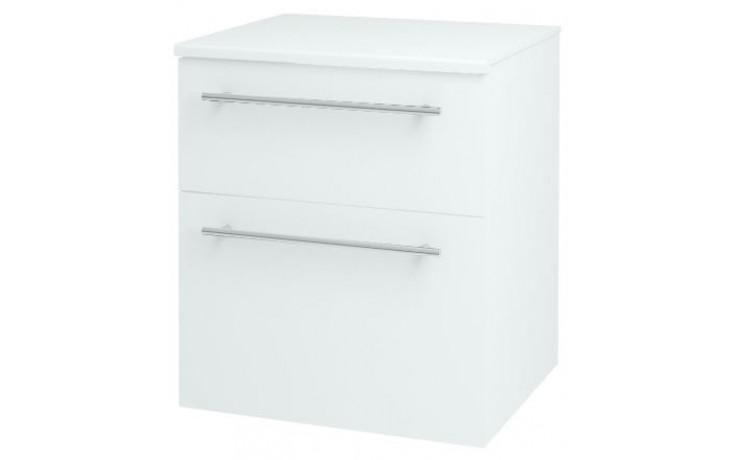 DŘEVOJAS Q MAX SNZ 50 2Z K S nízká skříň 500x570x445mm, kontejner, s výsuvným košem, se zásuvkou, bílá lak/ L01 bílá vysoký lesk