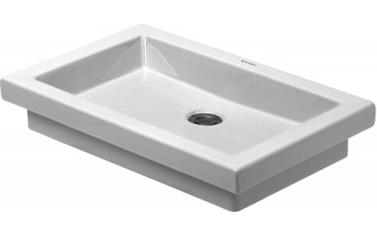 Umyvadlo polozápustné Duravit bez otvoru 2nd floor bez přetoku bez plochy pro armaturu 58x41,5 cm bílá+wondergliss