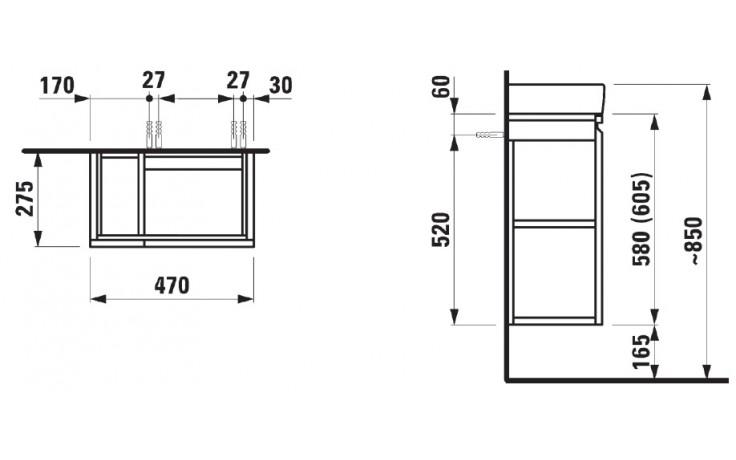 LAUFEN PRO skříňka pod umyvadlo 970x450x390mm s 1 zásuvkou, se sifonem, multicolor šedá 33 4.8307.2.095.999.1