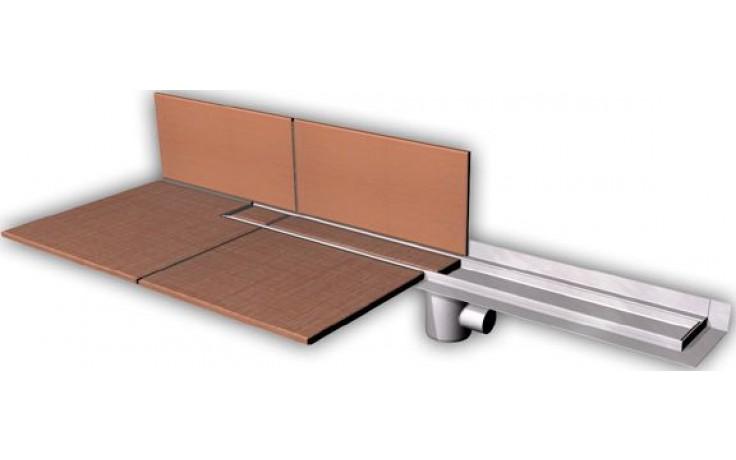 AZP BRNO PZ 014.900 podlahový žlab 900mm, pro vložení kachliček, ke stěně, nerez ocel
