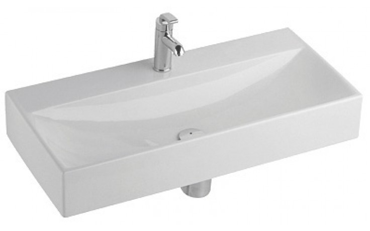 Umyvadlo klasické Kolo s otvorem Quattro bez přepadu 90x41,5x14,5 cm bílá+Reflex