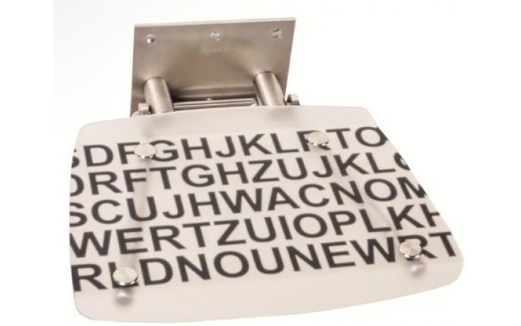 RAVAK OVO B DECOR sedátko 360x360x130mm do sprchového koutu, sklopné, text B8F0000030