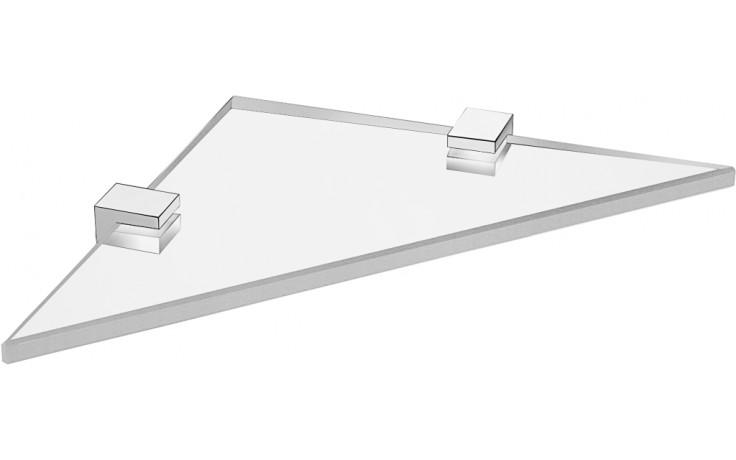 JIKA CUBITO rohová skleněná polička 200x200x30mm chrom 3.853C.4.004.000.1