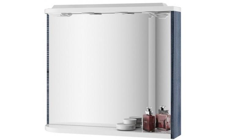 Nábytek zrcadlo Ravak UNI M780L s poličkou,integrovanými světly a zásuvkou 780x680x160 strip Onyx/bílá
