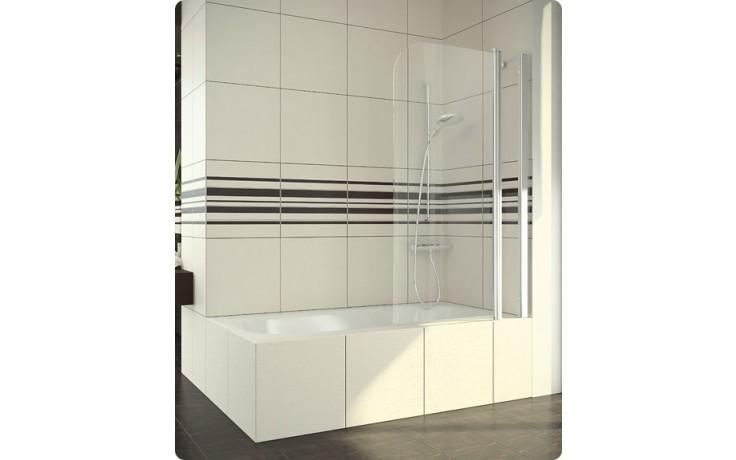 SLB13: Jednokřídlá vanová zástěna s pevnou stěnou v rovině