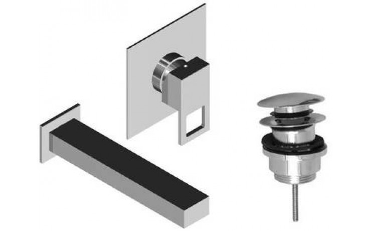 Baterie umyvadlová Raf podomítková páková Note s výtokovým ústím a výpustí click clack 175 mm chrom