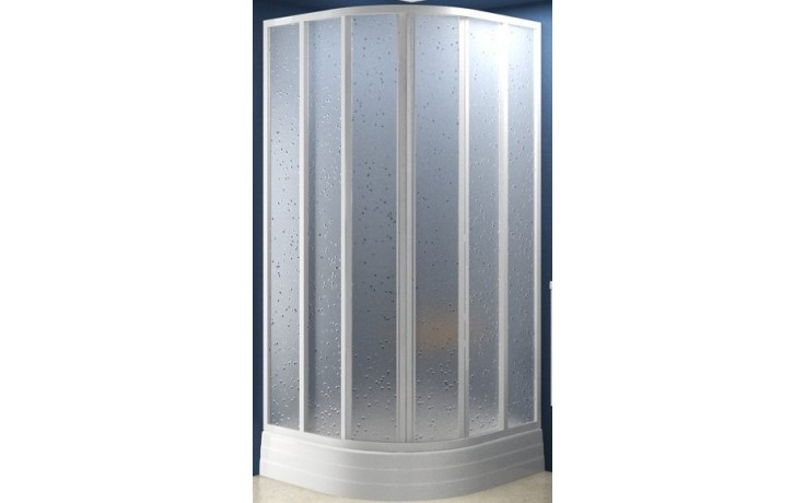 Zástěna sprchová čtvrtkruh Ravak sklo SKKP6-90 posuvný 90 bílá/grape