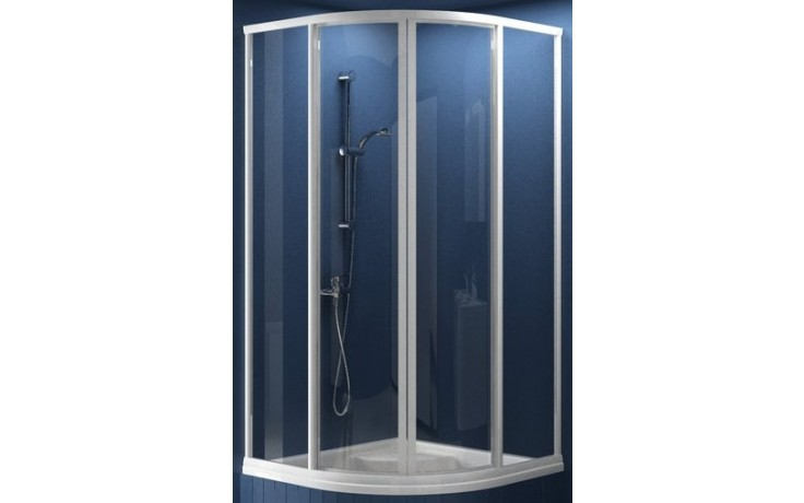 RAVAK SUPERNOVA SKCP4 SABINA 90 sprchový kout 775-795x1700mm čtvrtkruhový, snížený, posuvný, čtyřdílný bílá/pearl 31177V10011
