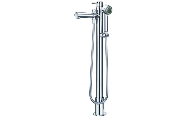 LAUFEN TWINPRIME PIN vanová páková baterie pro montáž na podlahu, se sprchovou hadicí a ruční sprchou, chrom