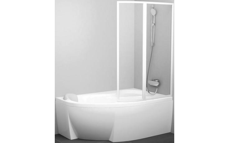 RAVAK ROSA VSK2 vanová zástěna 1500x1500mm rámová, dvoudílná, pravá, bílá/transparent 76P80100Z1