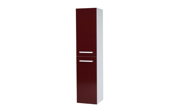 Nábytek skříňka Dřevojas Q MAX SVZ 35 S vysoká závěsná - úchytka A 350x1546x354 mm bílá lak/ červená vysoký lesk