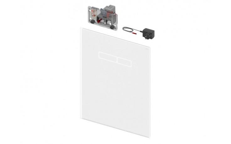 Horní skleněná deska z bílého skla pro montážní prvek TECElux s elektronickým ovládacím tlačítkem sen-Touch.