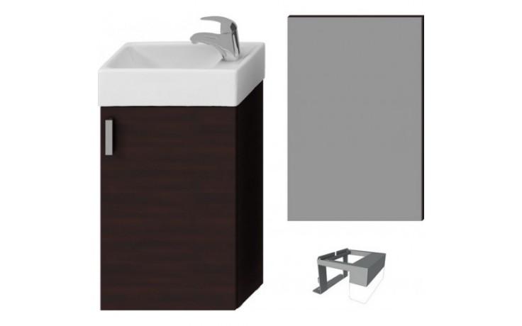 Nábytek skříňka s umývátkem Jika Petit se zrcadlem a osvětlením 40 cm tmavý dub