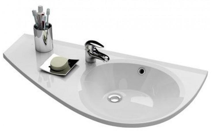 RAVAK AVOCADO speciální umyvadlo nábytkové 850x450x124mm, z litého mramoru, levé, s otvorem, bílá