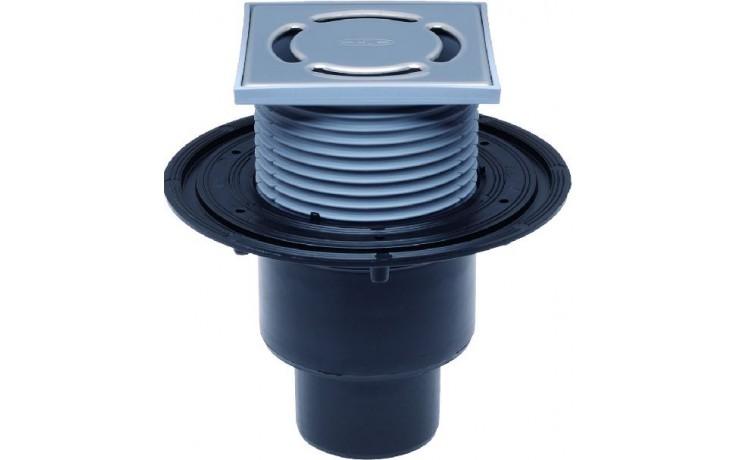 HL vpust DN50/75/110 podlahová, se svislým odtokem, polyetylen/nerez