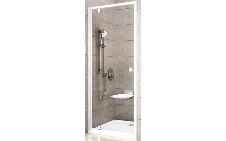 RAVAK PIVOT PDOP1 80 sprchové dveře 761-811x1900mm jednodílné, otočné, bílá/bílá/transparent 03G40101Z1