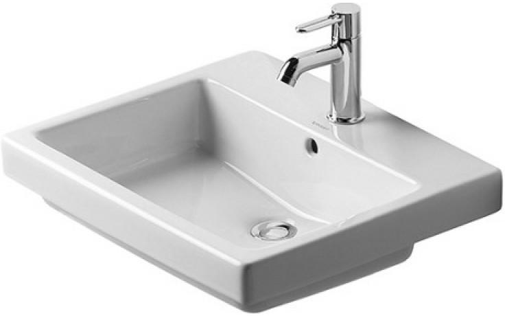 Umyvadlo zápustné Duravit s otvorem Vero vestavné pro zabudování zhora 55x46 cm bílá+wondergliss