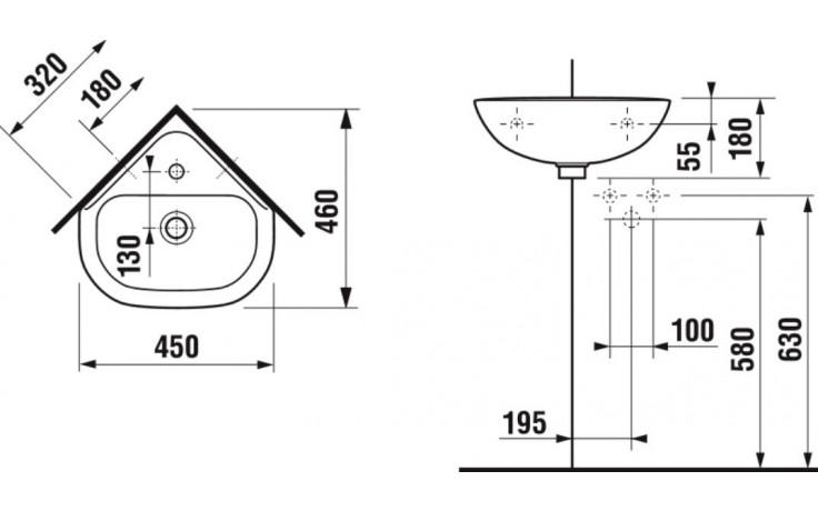 DEEP BY JIKA rohové umývátko 450x460x180mm, s otvorem, bílá