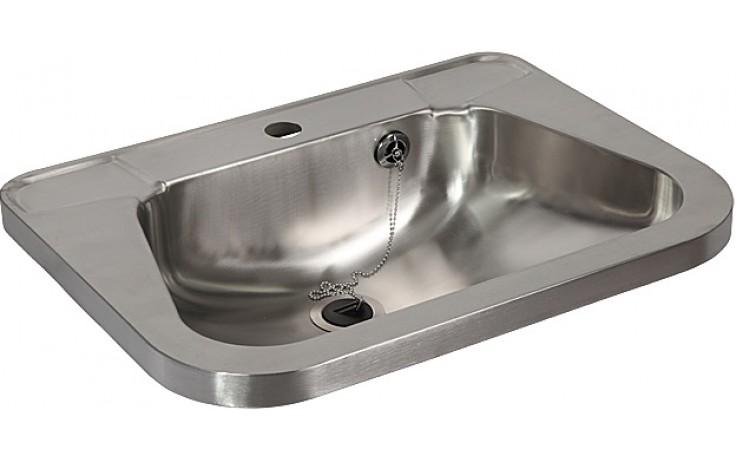 SANELA SLUN26 umyvadlo 560x420x160mm, závěsné, s otvorem, s prolisy na mýdlo, nerez