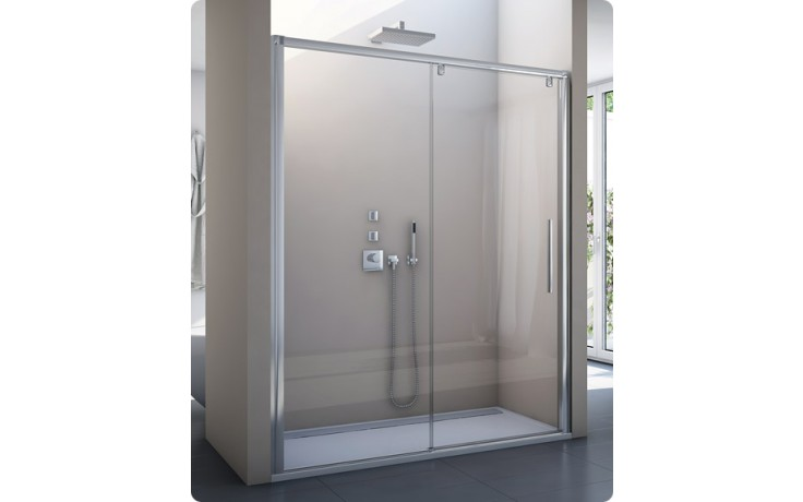 SANSWISS PUR LIGHT S PLS2 sprochové dveře 1200x2000mm jednodílné posuvné, s pevnou stěnou v rovině, pevný díl vlevo, aluchrom/čiré sklo Aquaperle