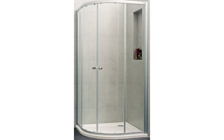 Zástěna sprchová čtvrtkruh - sklo Concept 100 NEW 800x800x1900/R500 mm stříbrná matná/čiré AP