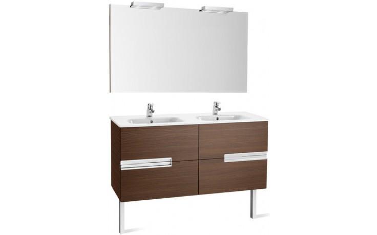 ROCA PACK VICTORIA-N nábytková sestava 1190x460x565mm skříňka s dvojumyvadlem a zrcadlem s osvětlením dub 7855840155