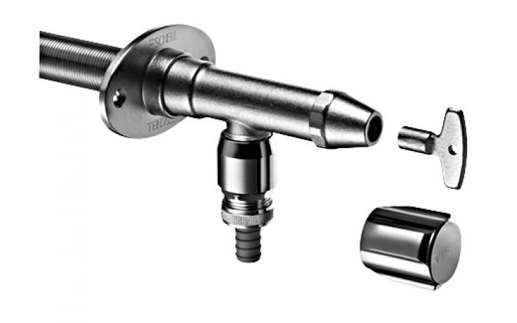 SCHELL POLAR II set venkovní nezámrzný ventil DN15, včetně instalační sady, matný chrom 039970399