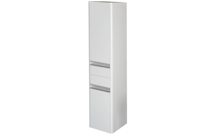 CONCEPT 600 vysoká skříňka 35x35x160cm se 2 dveřmi, 2 zásuvkami, závěsná, pravá, hnědá/hnědá C600.V2P.BG
