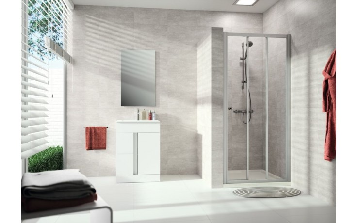 Zástěna sprchová dveře - sklo Concept 100 NEW, posuvné 2-dílné s pevným segmentem 800x1900 mm bílá/čiré AP