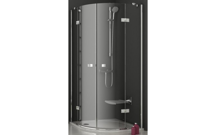 Zástěna sprchová čtvrtkruh Ravak sklo SmartLine SMSKK4-80 800x1900/R500 chrom/transparent