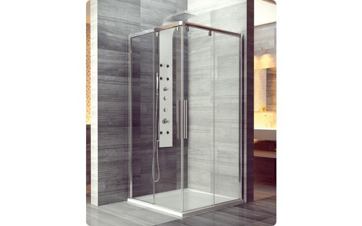 Zástěna sprchová čtverec Ronal sklo Pur Light S PLSE2D 080 50 07  rohový vstup s 2-díl. dveřmi 800x2000mm čiré sklo/aluchrom AQ