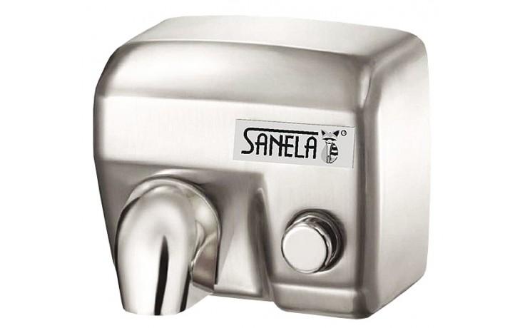 SANELA SLO02M osoušeč rukou 284x202x248mm, elektrický, s mechanickým tlačítkem, nerez mat