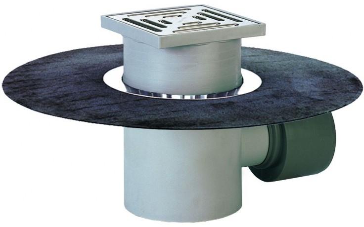 HL vpust DN75/110 podlahová s vodorovným odtokem a živičným pásem, polypropylen/nerez